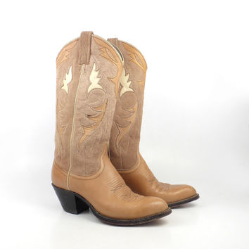 Vintage Cowboy Boots 1980s Dan Post Brown Inlay Leather Women's  size 6 1/2 C