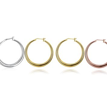 3 Pairs French Lock Gold Filled Hoop Earrings