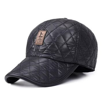 Man Winter Faux Leather Cap Warm Plaid Dad Hat Baseball Caps With Ear Flaps Russia Adjustable Snapback Hats For Men Casquette