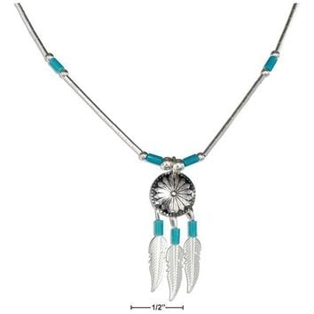 """STERLING SILVER 16"""" CONCHO NECKLACE WITH FEATHERS AND SIMULATED TURQUOISE HEISHI"""