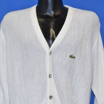 80s Izod Lacoste White Cardigan Sweater Medium