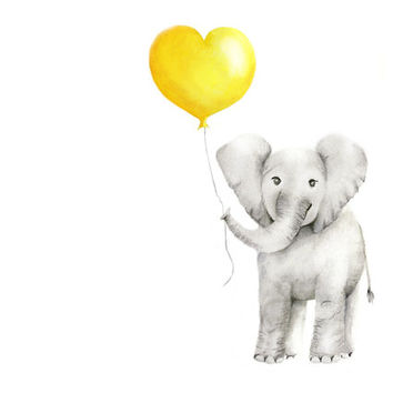 Elephant with Balloon, Yellow and Grey Nursery Art, Baby animal art, Girl nursery, Boy nursery, Love, Heart, Childrens Wall Decor, Print