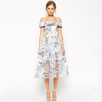White Floral Print Off Shoulder High Waisted Organza Midi Dress