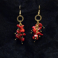 red black and gold-toned stone cluster earrings