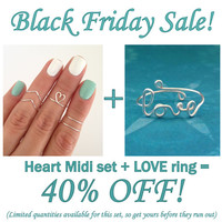 Black Friday 40% OFF! Dainty Heart midi set (with chevron and simple bands) and LOVE ring