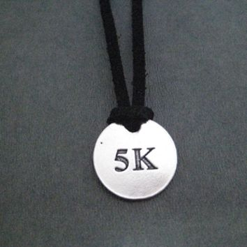 DISTANCE Round Pendant Self Tie Necklace - Pewter Charm on 3 Feet of Self Tie Micro Fiber Suede - Choose 5K, 10K, 13.1, 26.2, XC or RUNNER GIRL Pewter Pendant with 36 inch micro fiber suede lace cord - Choose Your Color!
