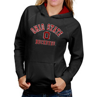 Ohio State Buckeyes Womens Arch Mascot Logo Pullover Hoodie - Charcoal