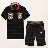 GUCCI Trending Men Casual Tiger Head Bee Embroidry Shirt Top Tee Shorts Set Two-Piece Black