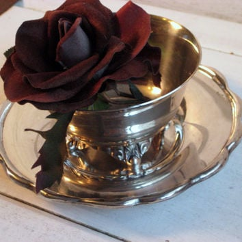 Vintage Silver footed bowl on round saucer, Shabby decor, aged patina, Silver plate