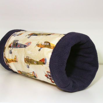Guinea Pig Play Tunnel. Reinforced Hedgie Tube, Ferret Roll - Vintage Airplane with Navy Fleece