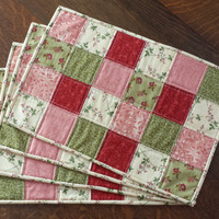 Quilted placemats, set of 4, 18 x 12, country placemats, patchwork, country floral fabrics, pink, rose pink, green, deep red, ivory