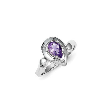 Sterling Silver Diamond accent Pear Shaped Amethyst Ring: 6
