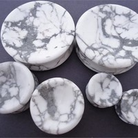 Concave Howlite Stone Plugs (8 gauge - 2 inch)