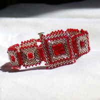Red and Silver Beadwoven Bracelet with by ArtMasquerading on Etsy