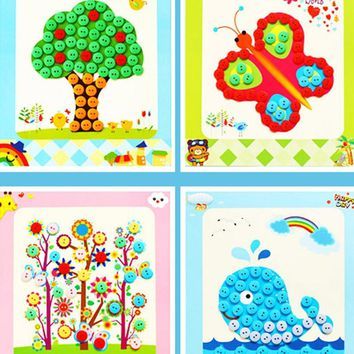 Children DIY Button Drawing Toy Educational Picture Handmade Buttons Paste Painting Material Bag for Home Kindergarten Nursery