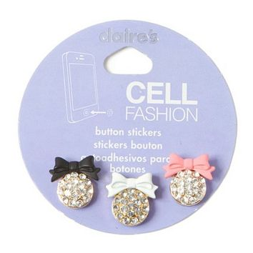 Bling and Bow Cell Phone Button Stickers Set of 3  | Claire's