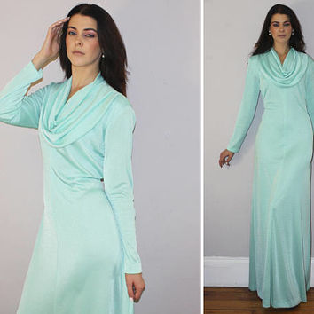 Vintage 70s METALLIC MAXI DRESS / Sea Foam Green / Dramatic Cowl Neck, Draped / Cocktail, Evening, Prom, Special Occasion / Disco / Large