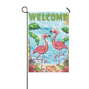 llyaon.iao Flamingo Beach Summer Garden Flag Welcome Tropical Palm Trees-Best for Party Yard and Outdoor Home Decor 12x18in