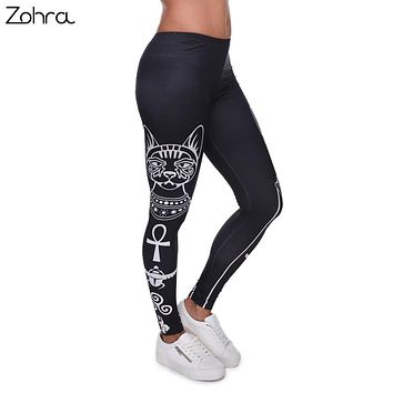 Zohra High Elasticity Egyptian cat symbols Printed Fashion Slim fit Legging Workout Trousers Casual Pants Leggings for Women