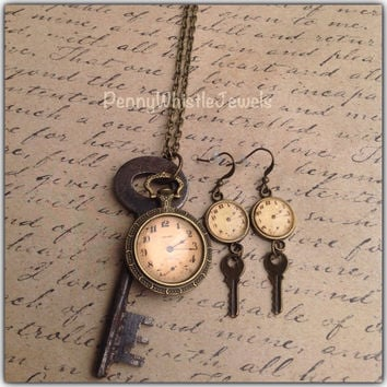 Clock Earrings, Key Earrings, Vintage Inspired Earrings, Clock Jewelry, Key Jewelry, PennyWhistleJewels