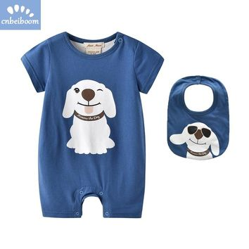 Newborn Baby Boys Romper with Bib Cute Dog 2018 New Summer infant rompers Clothing baby boy Onesuits toddler clothes