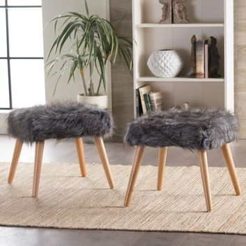 Hussey Mid-Century Grey Faux Fur Ottoman
