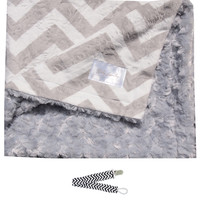 "Baby Laundry 92324 Soft Minky Gray Chevron Baby Blanket 36""x30"" with Pacifier Clip"