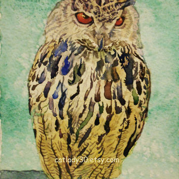 Eagle Owl Watercolor Print. Owl painting. Watercolor owl. Owl wall art. Owl picture. Watercolor animal. Owl artwork. Brown owl. Bird artwork