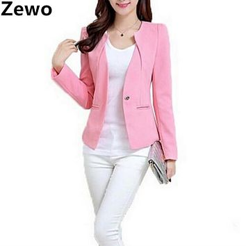Zewo Blazer Feminino Women Coat Jacket Spring Autumn 2017 Long Sleeve Single Breasted Slim Suit Ladies Blazers Plus Size OL Work