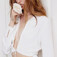 All For Love Long Sleeve Cut Out Plunge Crop Blouse - 2 Colors Available