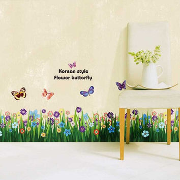 Grass Flower Butterfly Wall Sticker Decal Home Decor Removable SM6