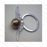 harry potter Enchanted Steampunk Golden snitch with Double Sided wings keychain-wings antique silver