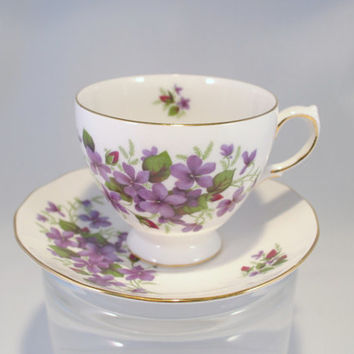 Teacup, Queen Anne Purple Violet Teacup and Saucer, c. 1959-1966