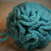 Spa Bath Puff in Teal, Turquoise Cotton Shower Pouf, Handcrafted Bath Accessories, Christmas Gifts for Her, Holiday Stocking Stuffers