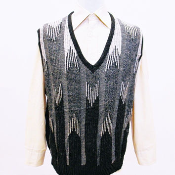 Vintage 1980s LONDON FOG Striped Herringbone Tank-Top Jumper XL
