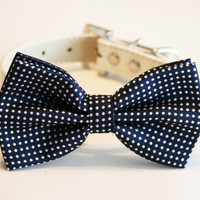 Navy Dog Bow Tie, Pet accessory, Dog Lovers, Navy wedding, Navy wedding accessory, Polka dots, Dog birthday gift