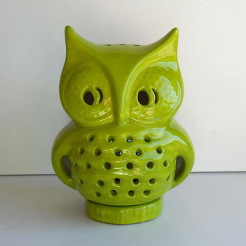 Ceramic Owl Lantern Vintage Design In Apple