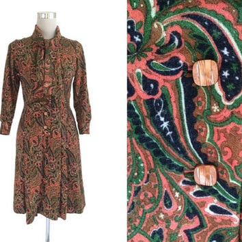 Autumn Fashion - 1970's Vintage Dress - 70's Dress - Emerald Green And Terracotta - Preppy Paisley Scarf Neck Dress