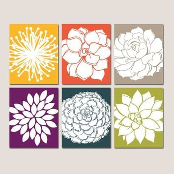 Flower Wall Art, KITCHEN Wall Art, CANVAS or Prints, Bathroom Decor, Bedroom Pictures, Botanical Succulent Flowers, Home Decor Set of 6