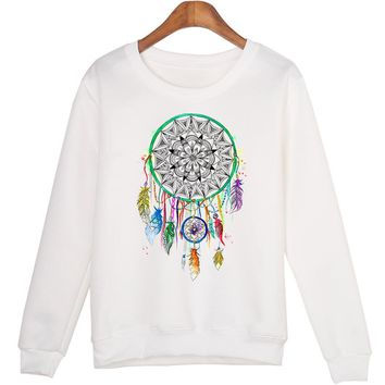 Round-neck Pullover Hoodies Pattern Print Long Sleeve Dream Catcher [10985315719]