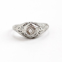 Antique 18k White Gold Art Deco Solitaire Diamond Ring - 1920s Size 8 1/4 Vintage Filigree Fine Engagement Bridal Jewelry