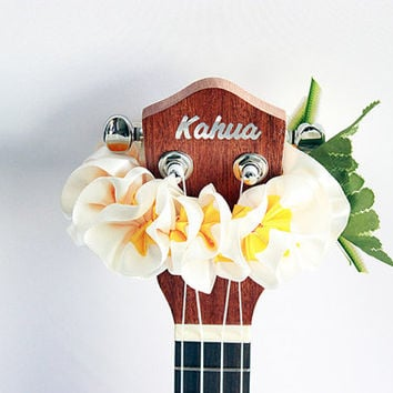 ukulele item  / Ribbon lei for ukulele / white plumeria / ukulele gift /  ukulele accessories /