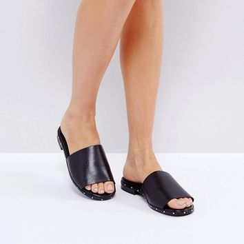 ALDO Payge Leather Studded Slide Flat Sandals at asos.com