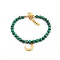 Mr. Kate | Moon and Malachite Bracelet. Green and Yellow Gold.