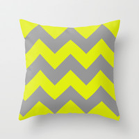 Chevron Lemon Throw Pillow by Alice Gosling