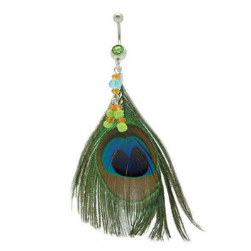 Real Feather Belly Ring with Peacock Feathers-141485