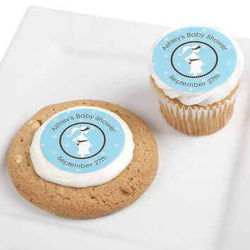 Mommy Silhouette It's A Boy - Personalized Baby Shower Edible Cupcake Toppers - 12 ct