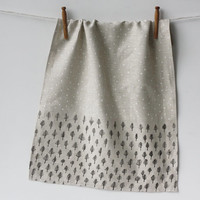 Linen Tea Towel  Trees & Stars by jennarosehandmade on Etsy