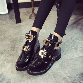 2014 Designer Brand Punk Women Genuine Leather Big Metal Buckle Cut Out Cutout Flat Ankle Motorcycle Boots Booties Shoes Sandals