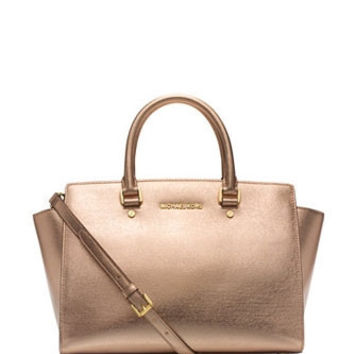 Michael Michael Kors Large Selma Metallic Zip Top Satchel
